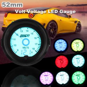 Universal 2'' 52mm Car 7-Color Volt Voltage Voltmeter Gauge Digital LE