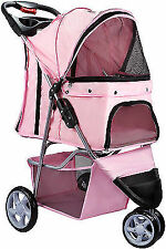 Pet Stroller Cat Dog 3 Wheel Walk Jogger Travel Folding Carrier PINK OxGord