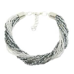 GlassOfVenice Murano Glass Gloriosa 12 Strand Seed Bead Bracelet - Silver Grey