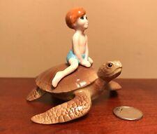 Hagen-Renaker #4046 Specialty BOY ON SEA TURTLE - Ceramic Figurine
