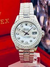 CUSTOM Rolex Datejust President SS 18k 14k Ladies Diamond Bezel Pearl Dial ~ WoW