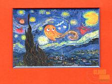 "Pac Man art 2x3"" fridge/locker magnet Starry Night Van Gogh"