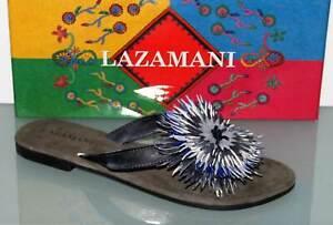 LAZAMANI Leder-Sandalette Flats Sandale Zehentrenner Batik Grau - Neu! Gr. 39