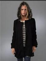 Free People Size Medium Black Faux Fur Hooded Peacoat Jacket Woman Love Me Not