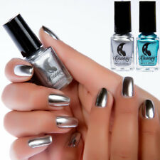 2Bottle Metallic Mirror Effect Nail Polish Metal Silver Blue Shiny Varnish Decor