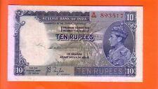1937 British India  KG VI 10 Rupees note
