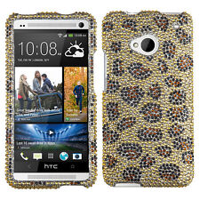 For HTC ONE / M7 Crystal Diamond BLING Hard Case Phone Cover Leopard accessory