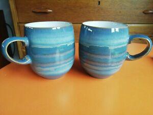 2 x Denby POTTERY Azure Blue Coast  Mugs excellent condition large mugs