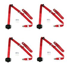 4 Red Retractable Shoulder Seat Belts Jeep CJ YJ Wrangler 82-95 3 Point 2 Pair