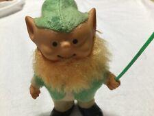 Vintage Leprechaun 3 1/2 inches tall Rubber Figurine Dressed in Felt.