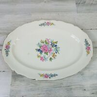 Vintage Canonsburg Pottery Indian Rose Floral Flowers Large Serving Platter HTF