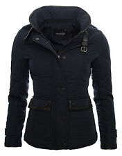 Ladies Quilted Jacket Between-Seasons Light Trench Coat Stand Up Collar Autumn