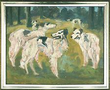 Spätimpressionismus 1930er J. Barsoi Windhunde bei Jagd Öl vgl. Feldbauer - Putz