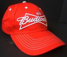 Budweiser Beer Snapback Hat Bud Embroidered Logo Red White Baseball Cap