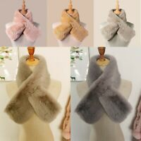 Women's Winter Faux Fur Loophole Scarf Scarves Rectangle Furry Wraps Warm Soft