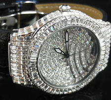 Brilliant Silver Icy Hot Men Princess Cut CZ Designer Leather Bling King Watch