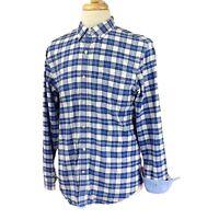 Banana Republic Men Tailored Slim Fit Flip Cuff Blue Check Oxford Shirt Large