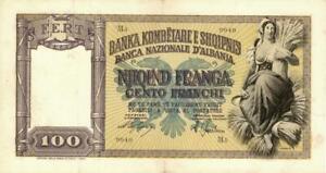 Albania 100 Franga Provisional Currency Banknote 1945