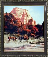 Western Cowboy Horses Mountain Wall Art Decor Mahogany Framed Picture (20x24)