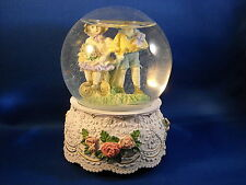 VICTORIAN BOY & GIRL SNOW GLOBE MUSIC BOX -  PLAYS SMALL WORLD  MADE IN CHINA