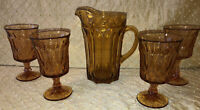 "Amber ""Fairfield"" Depression Glass Pitcher And 4 Goblets"