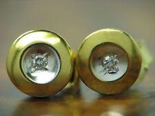 8kt 333 ORO orecchini a bottone con guarnizione in Diamante Orecchini// 1,4g