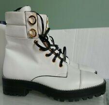 Stuart Weitzman Lexy White Leather Combat Boots size 5.5M