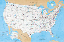 22x34 GEOGRAPHY UNITED STATES USA 14364 CHALK MAP OF NORTH AMERICA POSTER