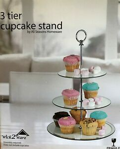 Clear Glass Mirror 3 Tier Cake Stand with mirror edge decoration