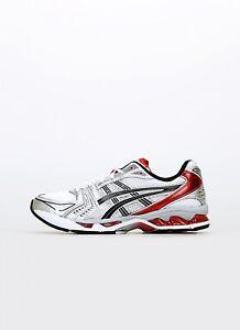 Asics Gel-Kayano 14 Herren Sneaker Turnschuhe Schuhe Silber Rot NEU 1201A019-103