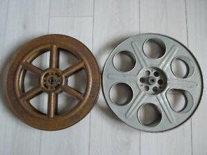 2 x 35mm empty metal 2000ft reels retro cinema spools.