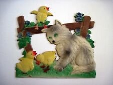 Vintage Pulp Cardboard Decoration with Kitten & Two Yellow Chicks - Very Cute *