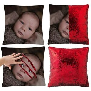 Custom Print Cushion Cover Personalised Photo Sequin Pillow Case Sofa Décor