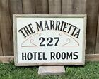 """Antique MARRIETTA HOTEL ROOMS DOUBLE SIDED HAND PAINTED WOOD & TIN SIGN 29"""" Wide"""