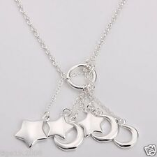 Sterling Silver Moon, Stars Necklace