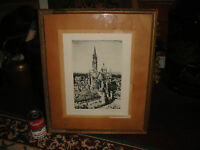 Samuel Chamberlain Etching Print Senlis From A Crow's Nest Signed Framed