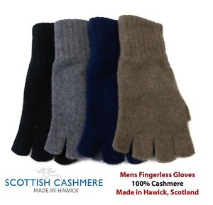 Mens Pure Cashmere Fingerless Gloves - Made in Hawick, Scotland