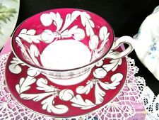 WEDGWOOD TEA CUP AND SAUCER RED & SILVER PATTERN TEACUP ART DECO SET ENGLAND