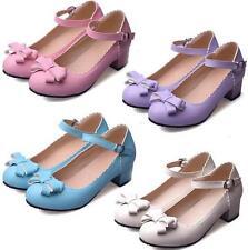 Mary Jane Women's Princess Cute Sweet Lolita Bowtie Low Heels Faux Leather Shoes