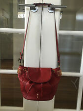 Christian Louboutin Dompteuse Red Rouge gold spikes bucket shoulder Bag $1695US