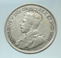 1929 CANADA UK King George V Genuine Original SILVER 25 CENTS Coin i76503