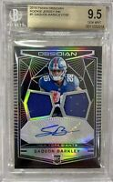 2018 Obsidian SAQUON BARKLEY ROOKIE PATCH AUTO DUAL /100 RPA JERSEY INK BGS 9.5