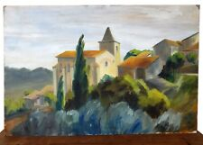 Vintage Mid Century Oil Painting on Board French Scene France Chateaux Shabby