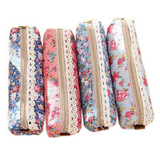 Chic Flower Floral Pencil Pen Case Cosmetic Makeup Bag Pouch Zipper Coin Purse
