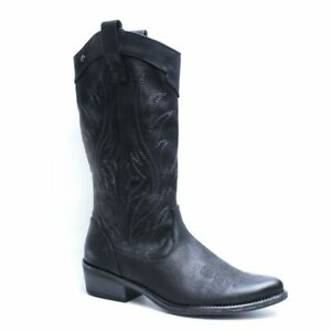 MTNG - Ladies Cowboy Vintage Black - Western cowgirl boots - faux leather
