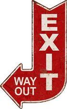 Targa pannello exit way out uscita freccia vintage pub bar metallo