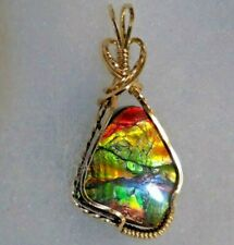Lovely ~  CANADIAN AMMOLITE PENDANT ~ Hand Crafted ~ 14kt GF