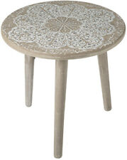 Mandala Side Table Low Small Moroccan Design Wooden Coffee Circle Silver