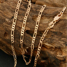 Mens18k Gold Plated 2mm Italian Figaro Link Chain Necklace 22 Inches Lovers Gift