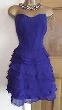 Fabulous❤️ £170 Karen Millen Blue Net Layer Corset Cocktail Dress Size 10 12